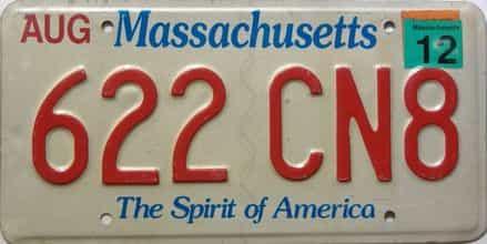 2012 Massachusetts (Single) license plate for sale