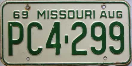 1969 Missouri license plate for sale