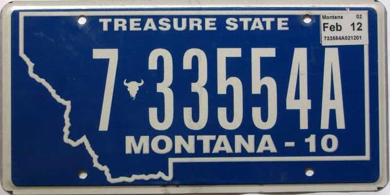 2012 Montana  (Single) license plate for sale