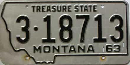 1963 Montana  (Single) license plate for sale