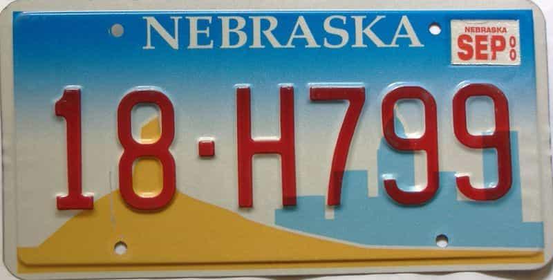 2000 Nebraska  (Single) license plate for sale