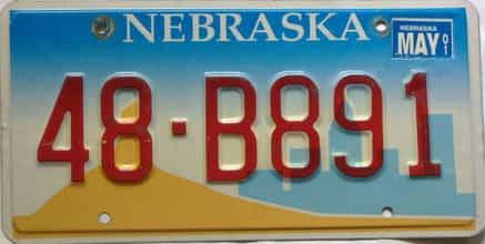 2001 Nebraska  (Single) license plate for sale