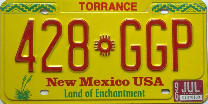 1996 New Mexico license plate for sale