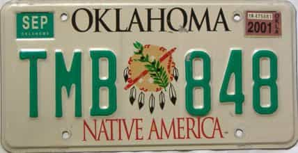 2001 Oklahoma license plate for sale