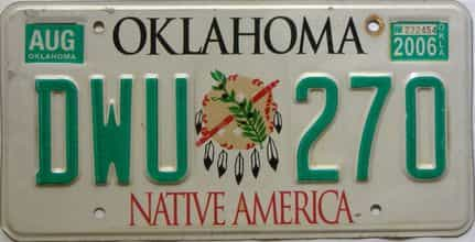 2006 Oklahoma license plate for sale