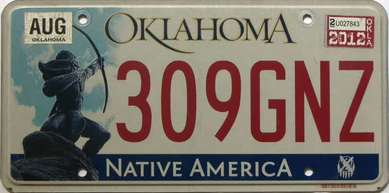 2012 Oklahoma license plate for sale