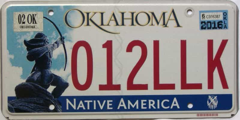 2016 Oklahoma license plate for sale