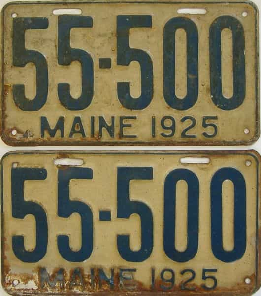 1925 Maine  (Pair) license plate for sale
