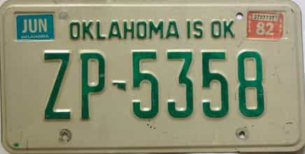1982 Oklahoma license plate for sale