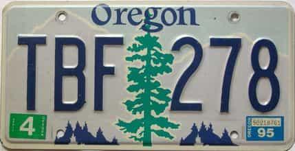 1995 Oregon  (Single) license plate for sale