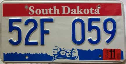 2000 South Dakota  (Single) license plate for sale