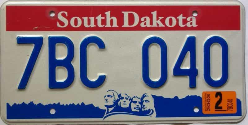 2003 South Dakota  (Single) license plate for sale