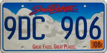 2008 South Dakota  (Single) license plate for sale
