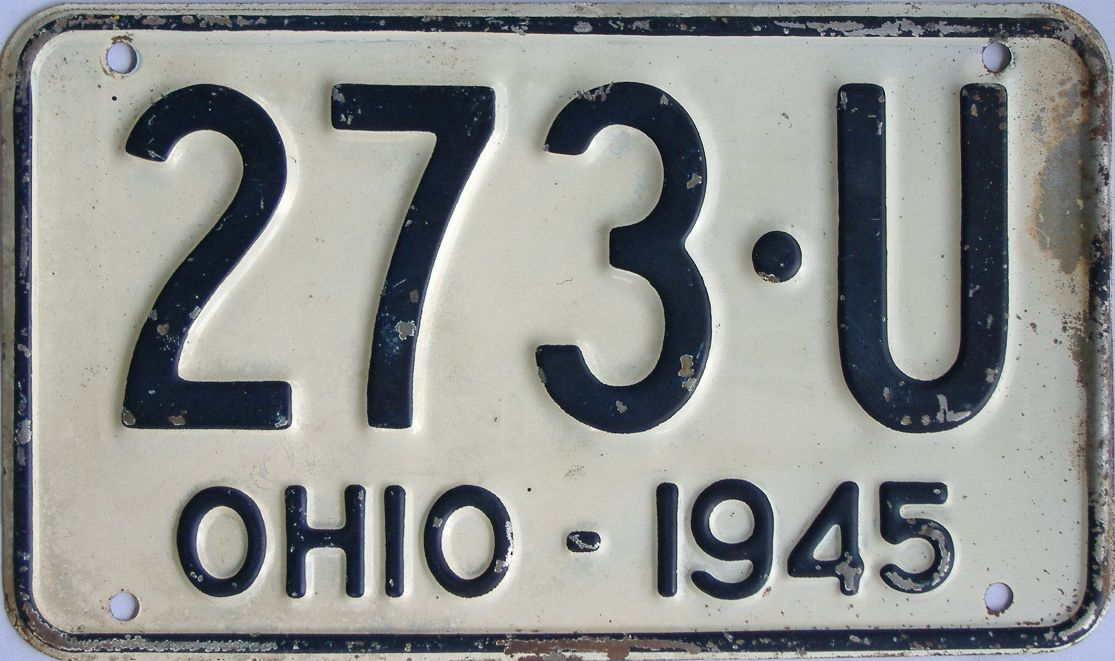 1945 Ohio (Single) license plate for sale