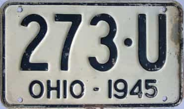 1945 Ohio  (Single) license plate for sale