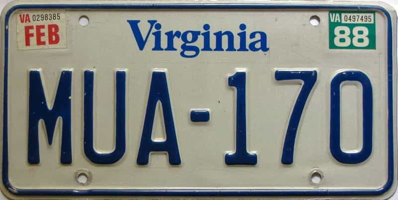 1988 Virginia  (Single) license plate for sale