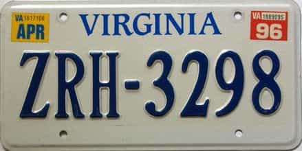 1996 Virginia  (Single) license plate for sale