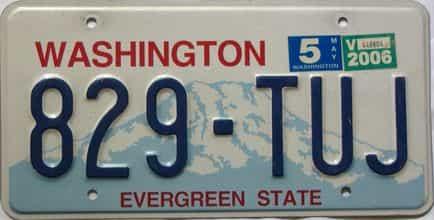 2006 Washington  (Single) license plate for sale