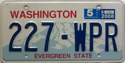2008 Washington  (Single) license plate for sale