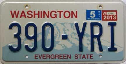 2013 Washington  (Single) license plate for sale