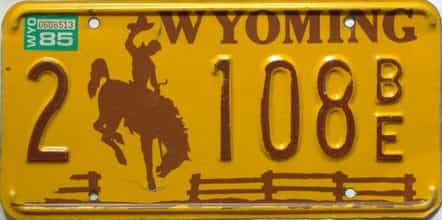 1985 Wyoming  (Single) license plate for sale
