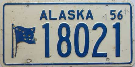 1956 Alaska  (Single) license plate for sale