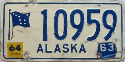 1964 Alaska (Single) license plate for sale