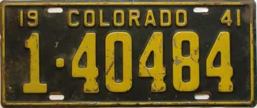 1941 Colorado  (Single) license plate for sale