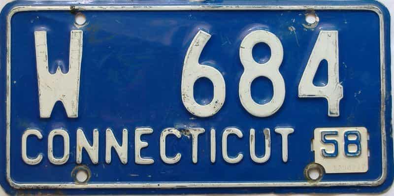 1958 Connecticut  (Single) license plate for sale