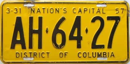1957 District Of Columbia  (Single) license plate for sale