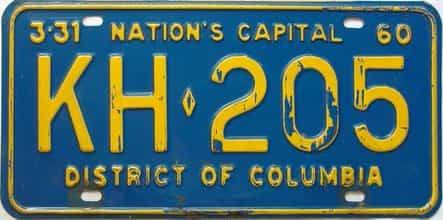 1960 District Of Columbia  (Single) license plate for sale