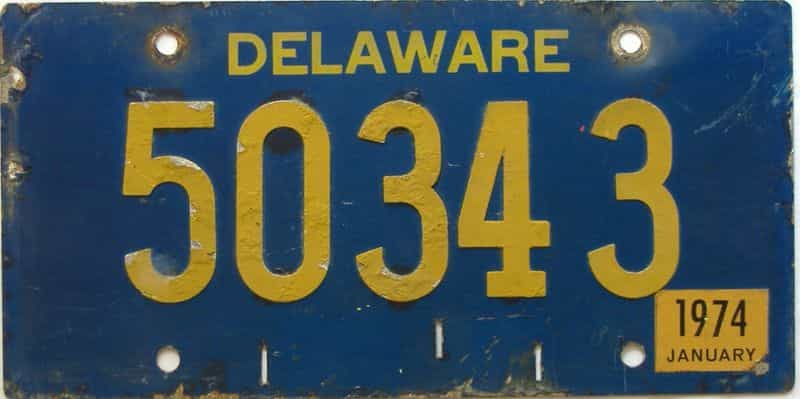 1974 Delaware license plate for sale