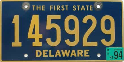 1994 Delaware license plate for sale