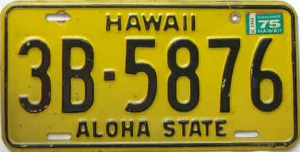 1975 Hawaii (Single) license plate for sale