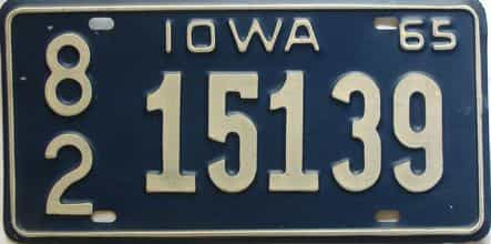 1965 Iowa  (Single) license plate for sale