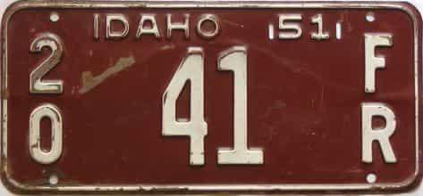 1951 Idaho  (Farm Truck) license plate for sale