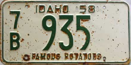 1958 Idaho  (Single) license plate for sale