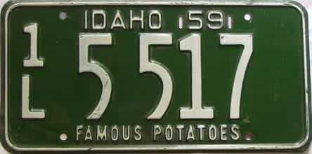 1959 Idaho  (Single) license plate for sale