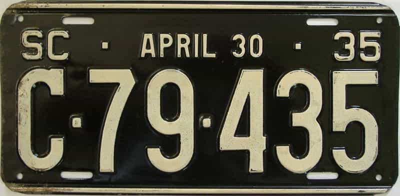1935 SC license plate for sale