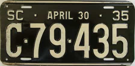 1935 South Carolina (Single) license plate for sale