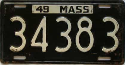 1949 Massachusetts  (Single) license plate for sale