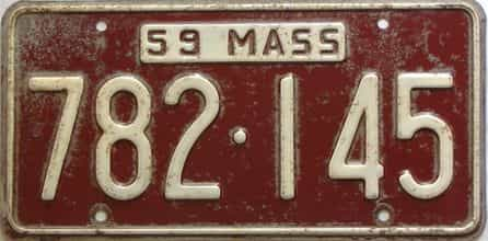 1959 Massachusetts  (Single) license plate for sale