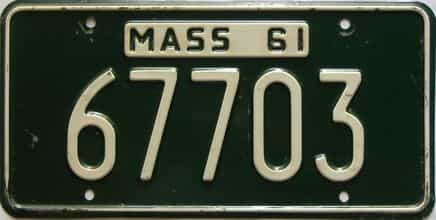 1961 Massachusetts  (Single) license plate for sale