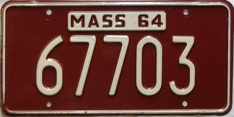 1964 Massachusetts  (Single) license plate for sale