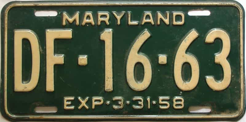 1958 Maryland  (Single) license plate for sale