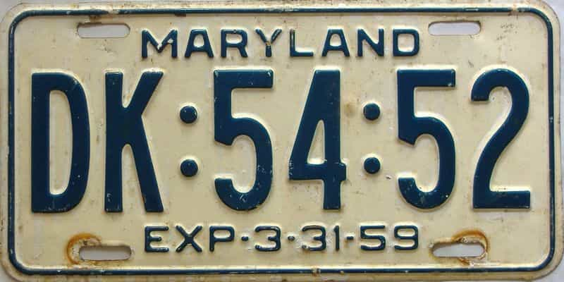 1959 Maryland  (Single) license plate for sale
