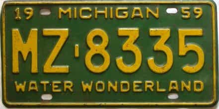 1959 Michigan  (Single) license plate for sale