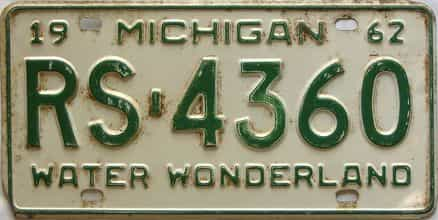 1962 Michigan  (Single) license plate for sale