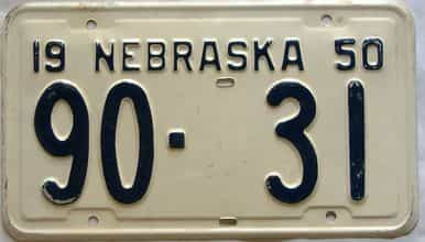 1950 Nebraska  (Single) license plate for sale