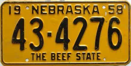 1958 Nebraska  (Single) license plate for sale